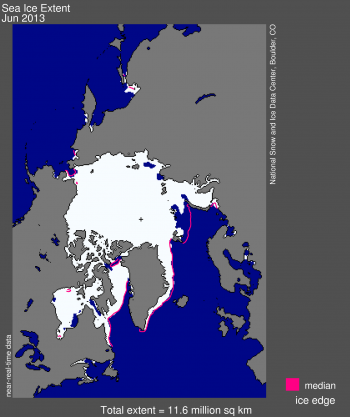 June 2013 sea ice extent