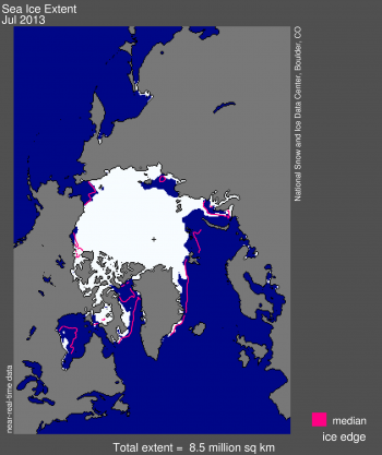 Figure 1. Arctic sea ice extent for July 2013 was 8.5 million square kilometers (3.26 million square miles). The magenta line shows the 1981 to 2010 median extent for that month. The black cross indicates the geographic North Pole.  Sea Ice Index data. About the data||Credit: National Snow and Ice Data Center|High-resolution image