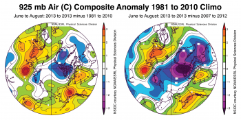 Figure 3: Figures above show the 925 hPa air temperature anomalies averaged from June, July and August 2013 relative to 1981 to 2010 (left) and relative to 2007 to 2012 (right). ||Credit: NOAA/ESRL Physical Sciences Division||High-resolution image