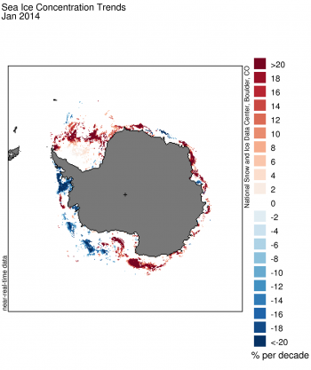 Figure 5. This image of Antarctic sea ice concentration trends shows... Sea Ice Index data. About the data||Credit: National Snow and Ice Data Center|High-resolution image