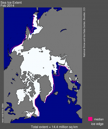 Figure 1. Arctic sea ice extent for February 2014 was 14.44 million square kilometers (5.58 million square miles). The orange line shows the 1981 to 2010 median extent for that month. The black cross indicates the geographic North Pole.  Sea Ice Index data. About the data||Credit: National Snow and Ice Data Center|High-resolution image