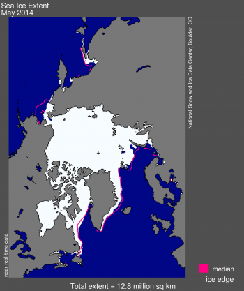"Figure 1. Arctic sea ice extent for May 2014 was 12.78 million square kilometers (4.93 million square miles). The magenta line shows the 1981 to 2010 median extent for that month. The black cross indicates the geographic North Pole. <a href=""http://nsidc.org/data/seaice_index""> Sea Ice Index</a> data. <a href=""http://nsidc.org/arcticseaicenews/about-the-data/"">About the data</a>