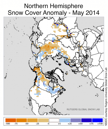 Figure 4a. This snow cover anomaly map shows the difference between snow cover for May 2014, compared with average snow cover for May from 1971 to 2000. Areas in orange and red indicate lower than usual snow cover, while regions in blue had more snow than normal.||Credit: National Snow and Ice Data Center, courtesy Rutgers University Global Snow Lab|  High-resolution image