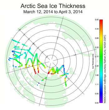 Figure 5a. Data from NASA Operation IceBridge flights over the Arctic Ocean during March and April 2014.||Credit: National Snow and Ice Data Center/NASA Operation IceBridge courtesy Nathan Kurtz|  High-resolution image