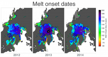 melt onset dates for 2012, 2013, and 2014