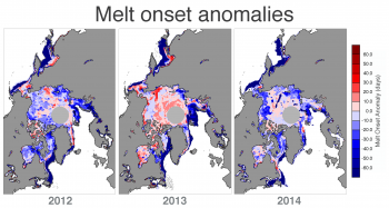 melt onset anomalies for 2012, 2013, and 2014.
