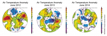 Figure 4. These images show air temperature anomalies for June 2012, 2013, and 2014 at the 925 Mb level (approximately 2,000 feet above sea level). ||Credit: RESEARCHER'S NAME/ORGANIZATION *or * National Snow and Ice Data Center|  High-resolution image