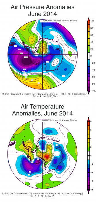 sea level air pressure anomaly, air temperature anomaly