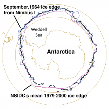 Figure 7. This map of the Antarctic ice edge for September 1964 from the Nimbus I satellite shows greater ice extent than the modern satellite period (1979 to 2014). A similar mapping of the August 1966 sea ice extent showed lower ice extent than modern data have shown for that month. The figure is modified from Gallaher et al., 2014. ||Credit: National Snow and Ice Data Center|  High-resolution image