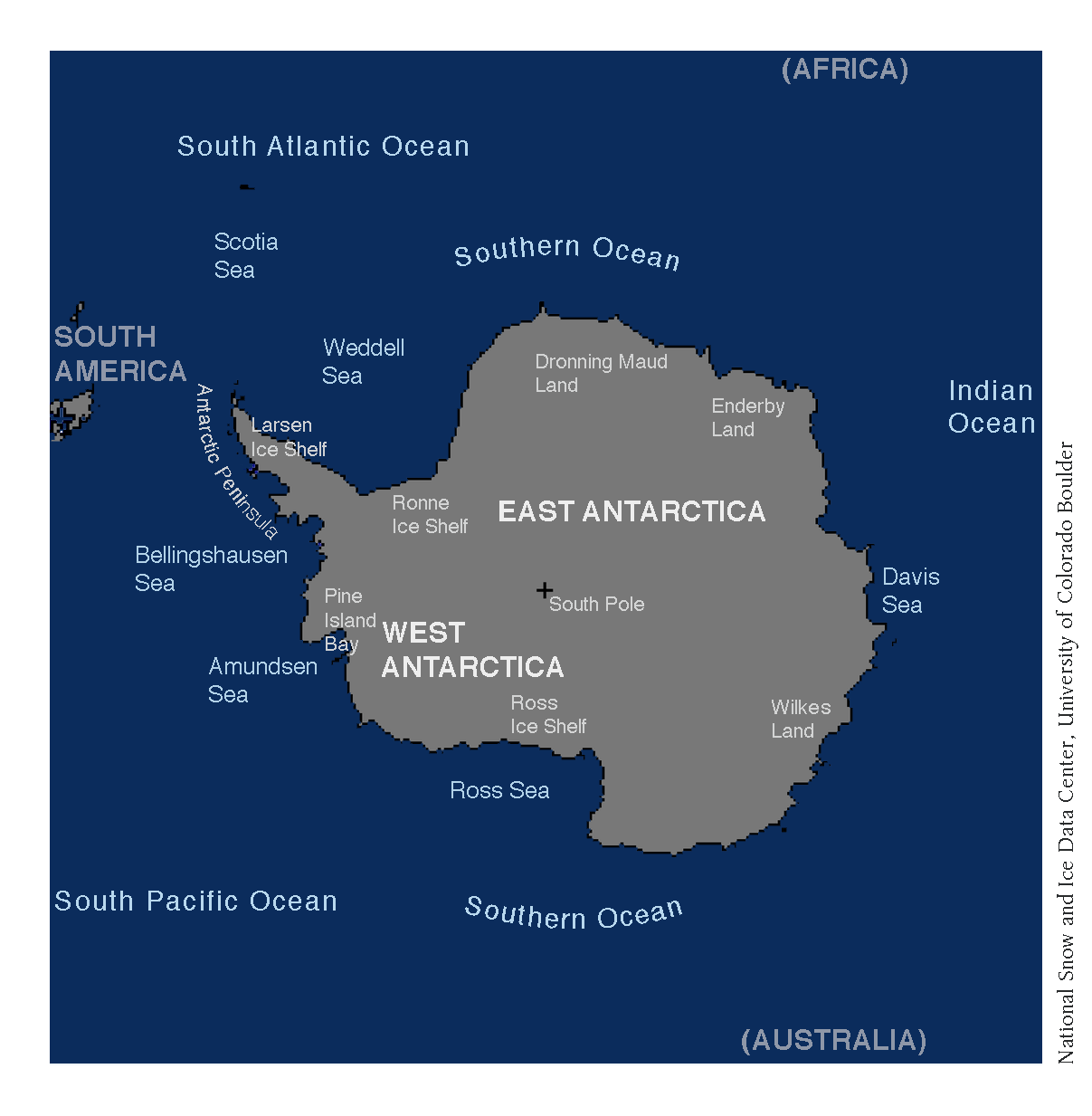 The oceans and regional seas around Antarctica, along with other geographical features. From NSIDC.