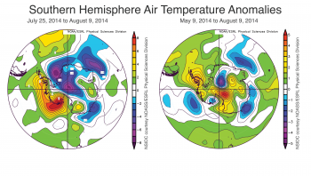 Figure 5. These images show air temperatures in the Southern Hemisphere at 925 mb (about 2500 feet above sea level) for July 25 to August 9, 2014 (left) and May 9 to August 9, 2014 (right) compared to the long-term average. ||Credit: NSIDC courtesy NOAA Earth System Research Laboratory Physical Sciences Division|  High-resolution image