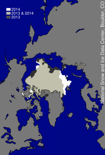 Figure 3. This image compares differences in ice-covered areas between September 17, 2014, the date of this year's minimum, and last year's minimum, September 13, 2013. Light gray shading indicates the region where ice occurred in both 2014 and 2013, while white and dark gray areas show ice cover unique to 2014 and to 2013, respectively.  Sea Ice Index data. About the data||Credit: National Snow and Ice Data Center|High-resolution image