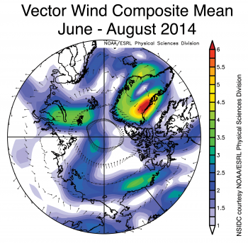 Figure 3b. This map shows surface wind patterns over the Arctic region from June to August 2014. ||Credit: NSIDC courtesy NOAA/ESRL Physical Sciences Division|  High-resolution image