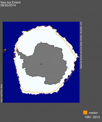 Figure 4. Antarctic sea ice extent for September 20, 2014 was 20.07 million square kilometers (7.75 million square miles). The orange line shows the 1981 to 2010 average extent for that day. The black cross indicates the geographic South Pole.  Sea Ice Index data. About the data||Credit: National Snow and Ice Data Center|High-resolution image