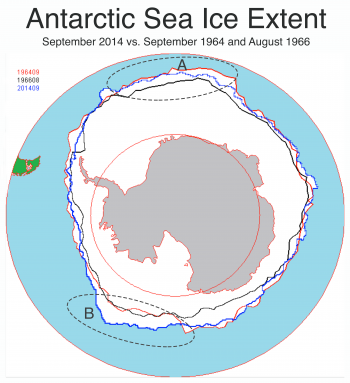 Figure 5. This image compares Antarctic sea ice extent for September 2014 (blue line) with extent for September 1964 (red line) and August 1966 (black line). The dotted ellipse marked A shows the eastern Weddell Sea and the dotted ellipse marked B shows the eastern Ross Sea. ||Credit: National Snow and Ice Data Center|  High-resolution image