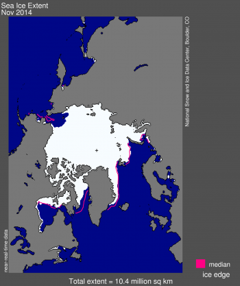 Arctic sea ice extent map