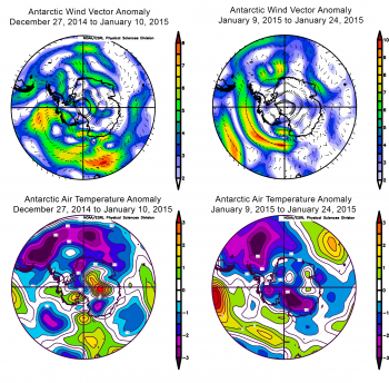 Antarctic wind and air temperature anomalies