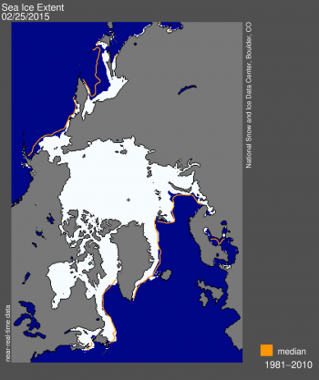 Figure 1. Arctic sea ice extent for February 25, 2015