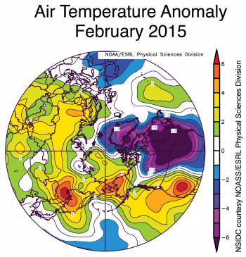 Figure 4. The plot shows Arctic air temperature anomalies at the 925 hPa level in degrees Celsius for February 2015.