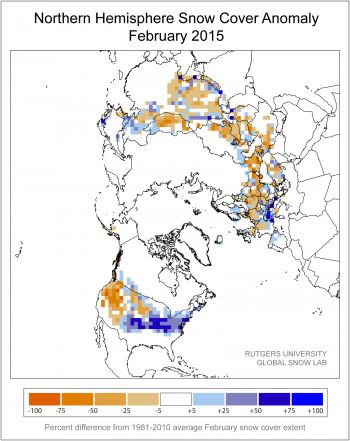 Figure 5a. This snow cover anomaly map shows the difference between snow cover for February 2015, compared with average snow cover for February from 1981 to 2010.