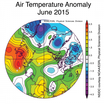 Figure 2b. The plot shows Antarctic air temperature anomalies at the 925 hPa level in degrees Celsius for June 2015. Yellows and reds indicate higher than average temperatures; blues and purples indicate lower than average temperatures.||Credit: NSIDC courtesy NOAA Earth System Research Laboratory Physical Sciences Division|  High-resolution image