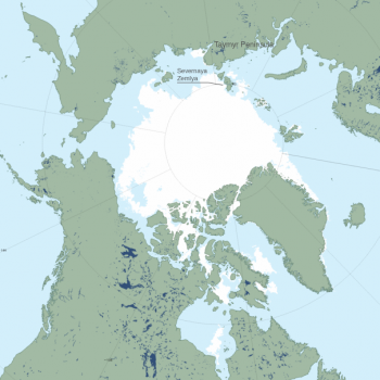 Figure 4. The image above shows Arctic sea ice extent on August 16, 2015 from the Multisensor Analyzed Sea Ice Extent (MASIE) data product.||Credit: National Snow and Ice Data Center|  High-resolution image