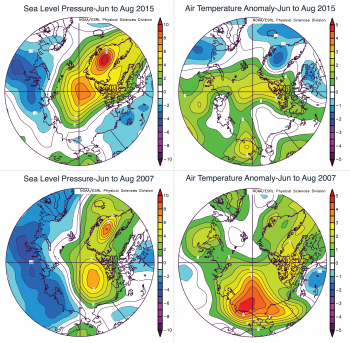 Figure 2b. This figure shows patterns of sea level pressure and air temperature at the 925 hPa level for the summers (June through August) of 2015 and for 2007, expressed as differences with respect to average conditions over the period 1981 to 2010.
