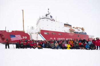 Figure 4. Scientists and the crew of U.S. Coast Guard Icebreaker Healy have their portrait taken at the North Pole on September 7, 2015.