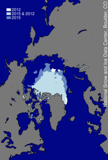 Figure 3. This image compares differences in ice-covered areas between September 11, 2015 and September 17, 2012, the record low minimum extent.