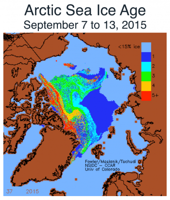 Figure 5a. The map shows Arctic sea ice age, in years, for the week of September 7 to 13, 2015. ||Credit: M. Tschudi, University of Colorado Boulder| High-resolution image