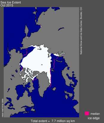 Figure 1. Arctic sea ice extent for October 2015 was 7.72 million square kilometers (2.98 million square miles).