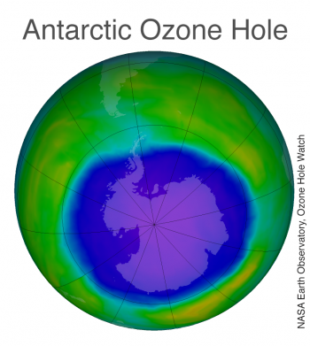 Figure 5. The image above shows the ozone hole over Antarctica on October 2, 2015 when it had reached its largest single-day area for the year.