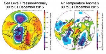 Figure 5. These graphs show average sea level pressure and air temperature anomaly at 925 mb (an altitude of about 3,000 feet) for 30 and 31 December, 2015.