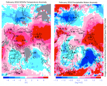 Figure 4. These two images show February 2016 departures from the 2003 to 2015 average for 925 hPa air temperature (left) and precipitable water (right) as derived from the NASA AIRS instrument.||Images courtesy Linette Boisvert/NASA Goddard Space Flight Center.| High-resolution image