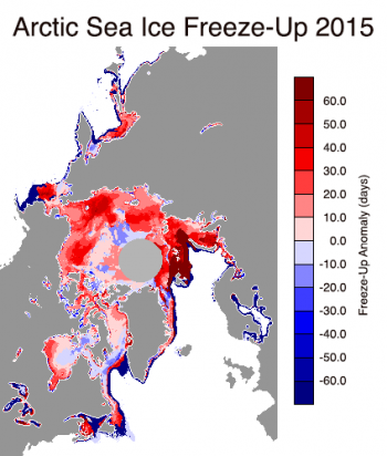 Figure 5. This images shows freeze-up anomalies in the Arctic for 2015. Reds indicate areas where freeze-up began later than average and blues indicate freeze-up beginning earlier than average.||Credit: National Snow and Ice Data Center, data provided by J. Miller/T. Markus, NASA Goddard Space Flight Center I High-resolution image