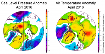 temperature and pressure anomaly plots