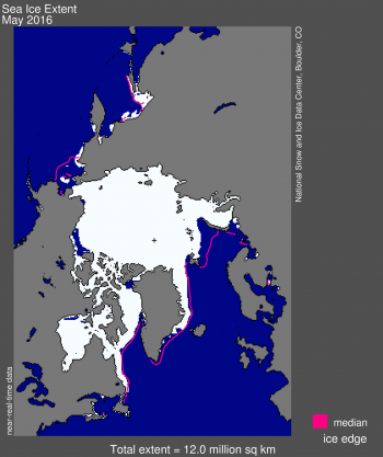 Figure 1. Arctic sea ice extent for May 2016 was 12.0 million square kilometers (4.63 million square miles).