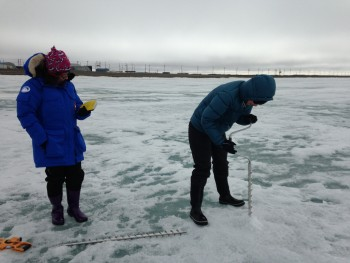 Figure 6a. Researchers use an auger to drill into the sea ice off Barrow, Alaska.