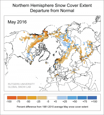 Figure 7. This snow cover anomaly map shows the percent difference between snow cover for May 2016 compared with average snow cover for May from 1971 to 2000. Areas in orange and red indicate lower than usual snow cover, while regions in blue had more snow than average.