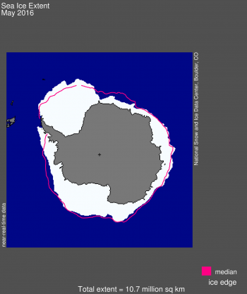 Figure 8a. Antarctic sea ice extent for May 2016 was 10.6 million square kilometers (4.13 million square miles).
