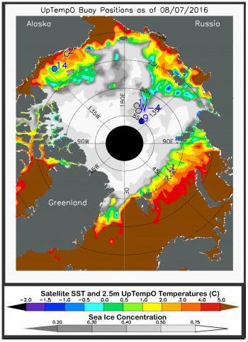 Figure 3. The map shows average ocean sea surface temperature (SST) and sea ice concentration for August 7, 2016. SST is measured by satellites using thermal emission sensors, which produce a global data adjusted by comparison with ship and buoy data. Sea ice concentration is derived from the NSIDC sea ice concentration near-real-time data. Also shown are drifting buoy temperatures at the ocean surface (colored circles); gray circles indicate that temperature data from the buoys are not available. ||Credit: M. Steele, Polar Science Center/University of Washington| High-resolution image