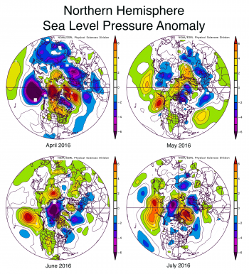Figure 4. These graphs show sea level pressure anomalies or differences from average sea level pressure in the Northern Hemisphere for April, May, June, and July 2016.
