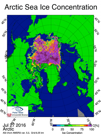 Figure 5b. This sea ice concentration image from the Advanced Microwave Scanning Radiometer 2 (AMSR2) shows dispersed sea ice and small polynyas in the Beaufort and East Siberian season July 27, 2016.