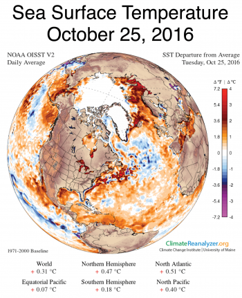 Figure 2b. Sea surface temperatures were unusually high over the Chukchi and Beaufort seas, as well as the Barents and Kara seas along the Eurasian coast, helping to limit ice growth. This figure shows conditions on October 25, 2016.