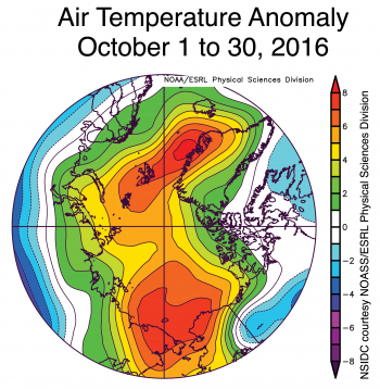Figure 2c. Air temperatures at the 925 hPa level were usually high over the Beaufort and Chukchi seas and the East Greenland Sea (up to 8 degrees Celsius or 14 degrees Fahrenheit above average).