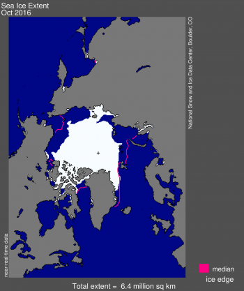Figure 1. Arctic sea ice extent for October 2016 was 6.40 million square kilometers (2.5 million square miles). The magenta line shows the 1981 to 2010 median extent for that month.