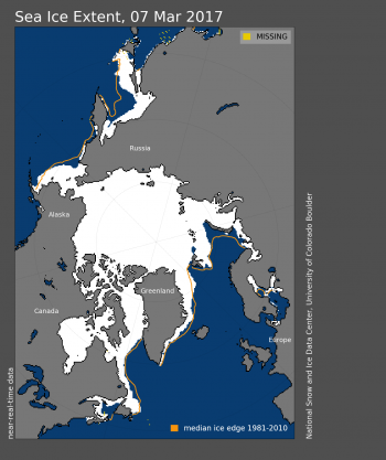 Figure 1. Arctic sea ice extent for March 7, 2017 was 14.42 million square kilometers (5.57 million square miles). The orange line shows the 1981 to 2010 median extent for that day.