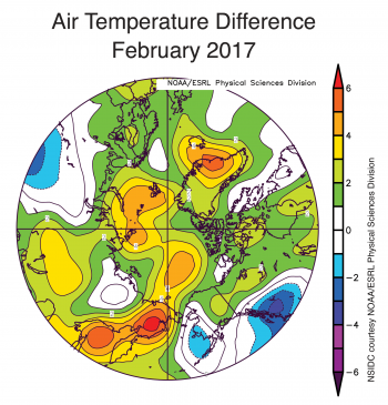 Figure 2b. The plot shows Arctic air temperature differences at the 925 hPa level in degrees Celsius for February 2017. Yellows and reds indicate temperatures higher than the 1981 to 2010 average; blues and purples indicate temperatures lower than the 1981 to 2010 average.||Credit: NSIDC courtesy NOAA Earth System Research Laboratory Physical Sciences Division| High-resolution image