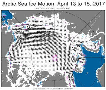 "Figure 2c. These maps show Arctic sea ice motion for April 13 to 15, 2017, which is representative of the general pattern seen throughout the month. Black arrows represent sea ice drift. The purple arrows represent ""filled"" values, data gaps that have been interpolated from surrounding data."
