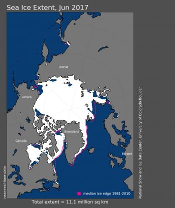 Figure 1. Arctic sea ice extent for June 2017 averaged 11.06 million square kilometers (4.27 million square miles).